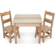 Melissa And Doug Solid Wood Kids Table And 2 Chairs Set Multiple Colors