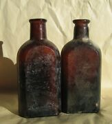 Vtg Amber Brown Cork Top Apothecary Bottles Bubbles Rx Pharmacy Apothecary
