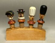 Rare Vintage Set Of 4 Anri Like Carved Figural Wood Bottle Men Stoppers And Stand
