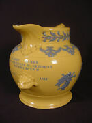 Extremely Rare And Unique 1841 Huge Presentation Pitcher Staffordshire Yellow Ware