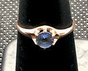 Antique Victorian 1 Ctw Ceylon Blue Sapphire 14k Rose Gold Ostby And Barton Ring
