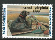 Wv-8, 1990 West Virginia Non-resident Duck Stamp, 5.00 Lab Retriever And Decoy