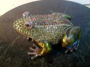 """Rucinni Italy Large Frog Jeweled Trinket Box With Crystals - 4"""" New"""