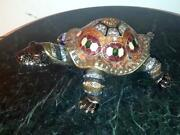 Rucinni Italy Large Turtle Jeweled Trinket Box With Crystals - 4 3/4