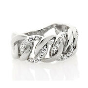 Hsn Jean Dousset 0.57ct Round Cubic Zirconia Sterling Curb Link Ring Size 7