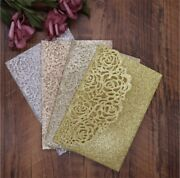 50/100 Glitter Invitation Personalized Wedding Printing Cards Laser Cut Kit Card