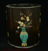 Old Chinese Ebony Wood Inlay Shell Pattern Pen Container Pen Container Brush Pot