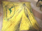 Antique Vintage John Deere Tractor Canvas Umbrella Yellow 4and039 X 4and039 Green Logo