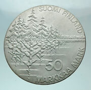 1985 Finland Trees Forest Pines Shield Genuine Silver 50 Markkaa Coin I81508