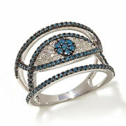 Hsn Rarities 0.75 Ct Round Blue And White Diamond Sterling Silver Evil Eye Ring 6