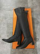 Hermes Black Leather Over The Knees Boots Shoes Eu37
