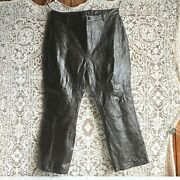 Newport News Easy Style Dark Brown Patchwork Leather Pants 20w Plus Size