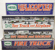 4 Pc 2000 2001 2002 2003 Amerada Hess Truck Vehicles Unused Helicopter Airplane