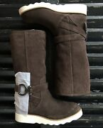 Coach Virtue Chocolate Brown Suede Mid Fleece Lined Boots Women's Size 7m Nib