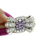 Hsn Jean Dousset 3.00 Ct Round Amethyst And Diamond Simulant Bow Ring Size 8