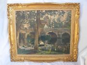 Gilbert Lanquetin,antique French Framed Oil Painting On Cardboard,signed.