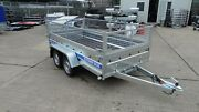 Car Trailer 10ft X 5 Ft Twin Axle 1300kg Braked With Cage Mesh
