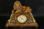 Jay Strongwater Lion Clock Enameled Crystals