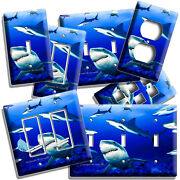 Swarm Of Great White Sharks Blue Ocean Light Switch Outlet Plates Sea Room Decor