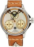 L. Kendall Menand039s K6 Ivory Mop Dial Brown Leather Strap Automatic Watch K6-004a