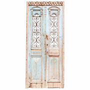 Antique French Colonial Painted Pine And Wrought Iron Double Door 19th Century
