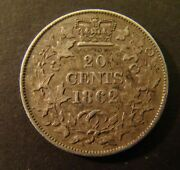 1862 New Brunswick 20 Cents Silver Xf  Canada Canadian   Foreign Coin  20c