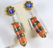 Antique Sterling Silver Enamel Filigree Natural Chinese Coral Earring