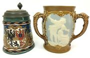 Mettlach 2024 Antique German Beer Stein And 2237 Antique 3 Handled Pass Cup Gift