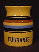 Rare Signed Currants Kitchen Jar Multi-color Bands T.g. Green Yellow Ware Mint