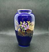 Vase Small Vintage Antique Blue Color With Birds Made In Japan Collectable
