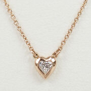 And Co. Elsa Peretti Diamond By The Yard Heart Necklace Rose Gold [h1226]