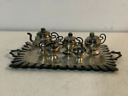 Vintage Antique Mexican Sterling Silver And Turquoise 6 Piece Miniature Tea Set