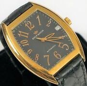 Vintage Philip Watch 18k Solid Yellow Gold Men's Panama Automatic Skeleton Back