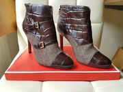 Coach Leather High-heeled Ankle Boots   Size 7   Brown