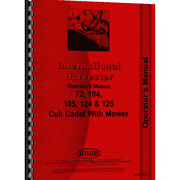 Tractor Operator Manual For International Harvester Fits Cub Cadet 72 Tractor