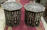 Pair Of Vintage Handmade End Table Inlaid Mother Of Pearl 16