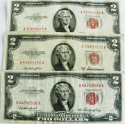 19531953-a1953-b 2 Red Seal Us Notes Fine+ Lot Of 3