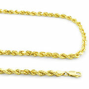 14k Yellow Solid Gold 4mm Diamond Cut Rope Chain Necklace W Lobster Clasp- 28