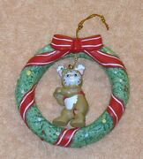 Kitty Cucumber Ornament Wreath With Kc In Deer Suit