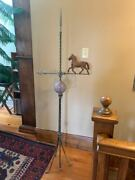 Very Nice Antique Lightning Rod Stand W/arrow, Quilted Ball And Twisted Copper Rod