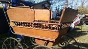 1800and039s Antique F A Whitney Baby Carved Oak Wood Doll Carriage Buggy Stroller