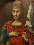Antique Rare 19c Hand Painted Russian Icon John The Warrior Oil On Canvas