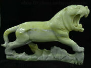 15 Chinese 100 Natural Jade Stone Carving Fengshui 12 Zodiac Year Tiger Statue