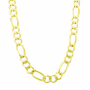 14k Solid Yellow Gold 7mm Men's Figaro Link Chain Necklace W Lobster Clasp 28