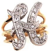 14 Karat Two Tone Gold Initial Style H Ring With Round Diamonds 101-1151