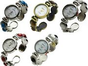 Blekon Collection Silver 28mm Round Face Mop Dial Decorated Womenand039s Bangle Watch