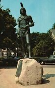 Statue Of Massasoit Protector Of The Pilgrims Plymouth Mass. Postcard A51