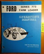Ford 773 Farm Loader For 8000 9000 Tractor Owner Operator Manual Se3354 11/71