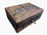 Antique Asian Chinese Oriental Carved Wood Trinket Box With Tray And Key Jewelry