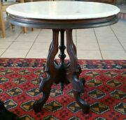 Antique Renaissance Revival Carved Mahogany Beveled Marble Side Table